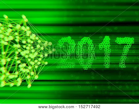 Happy new year 2017 isolated numbers written with light on black tech geometric background.