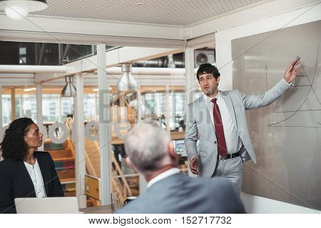 Young businessman standing in a boardroom giving a presentation on a whiteboard to two work colleagues sitting a table