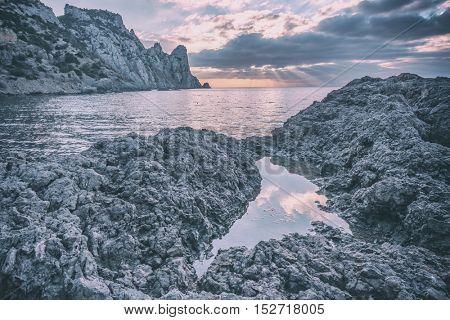 Black sea landscape in Crimea