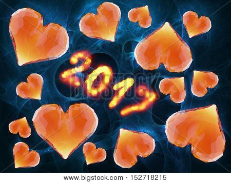 Happy new year 2017 numbers written with flame light on black background full of gem rumpled triangular low poly hearts.