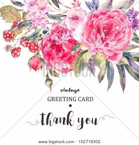 Classical vintage floral Thank You card, natural bouquet of roses, stachys, thistles, blackberries and wildflowers, botanical vector natural illustration