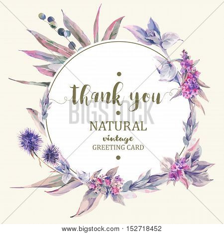 Vector vintage floral greeting card, bouquet of thistles, stachys, blackberries and wildflowers, botanical natural illustration