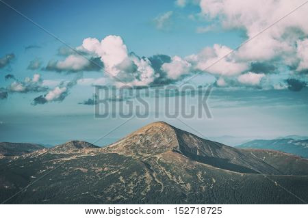 highest mountain Hoverla in carpathians mountains, toned like Instagram filter
