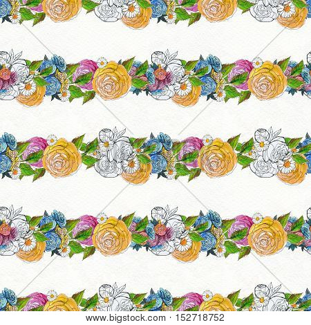 Seamless pattern with colorful garlands of flowers. Floral watercolor background. Rose wallpaper.
