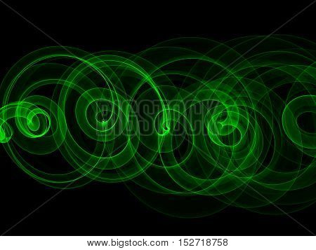 abstract eco fresh green smoke flame helix over black background.