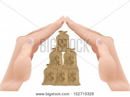 hands shaped roof covering currency bags hands covering Currency