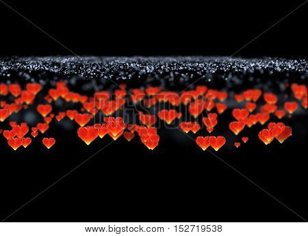 Red gem hearts isolated on dark background. Geometric rumpled triangular low poly style graphic 3d render illustration. Raster polygonal design for your business.