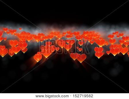 Red gem hearts cloud isolated on dark background. Geometric rumpled triangular low poly style graphic 3d render illustration. Raster polygonal design for your business.