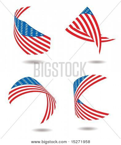 Us flags in different twisted poses and a drop shadow