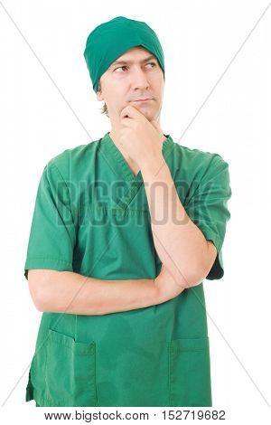 male nurse thinking, isolated over white background