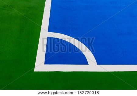 Futsal field corner. in a factory. for Playing and exercise