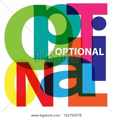 Vector Optional. Isolated confused broken colorful text