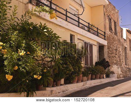 Sitia Crete a quiet street in the Greek style