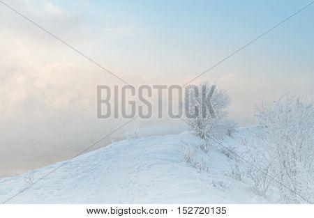 winter landscape frost river january moning snow
