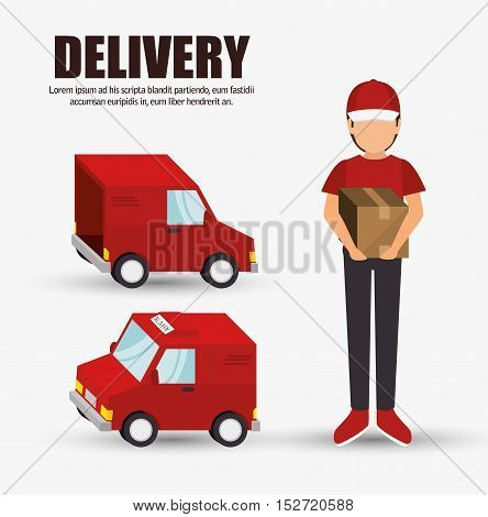 delivery concept character truck icon design vector illustration