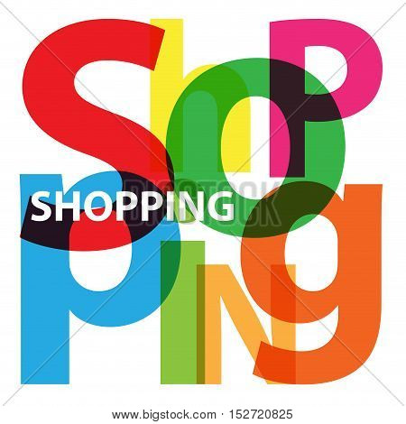 Vector Shopping. Isolated confused broken colorful text