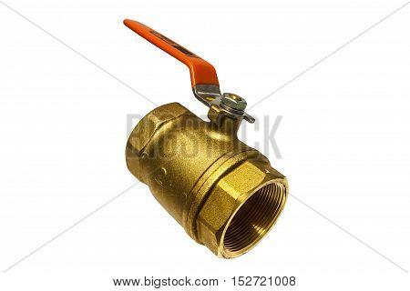 Ball valve brass Isolate on white background