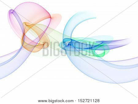 glowing rainbow curved lines and circles over white Abstract Background. seamless horizontal Illustration pattern.