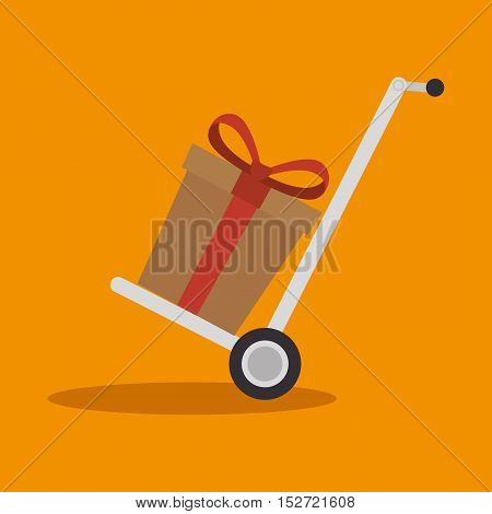delivery cart gift cardboard cargo icon vector illustration