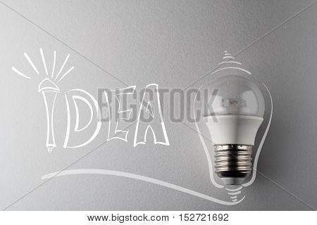 creative idea.Concept of idea and innovation with led lamp.