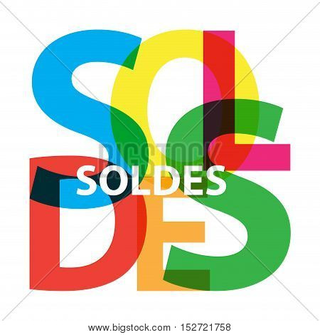 Vector soldes. Isolated confused broken colorful text