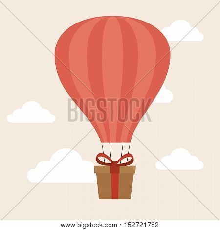 airballoon delivery concept gift box cargo vector illustration