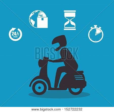silhouette boy icons delivery design vector illustration