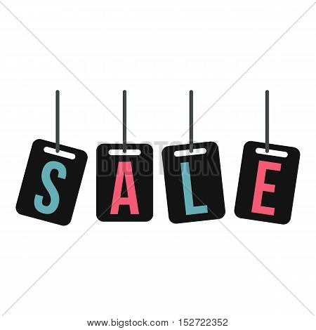 Hanging sale tags icon. Flat illustration of sale tag vector icon for web design