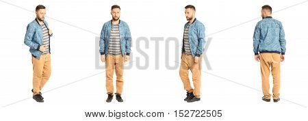 Young Stylish Man In A Blue Jacket Isolated On White