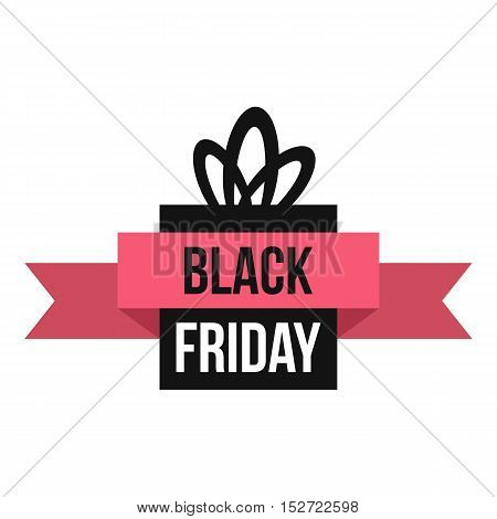 Black Friday gift box icon. Flat illustration of Black Friday box vector icon for web design