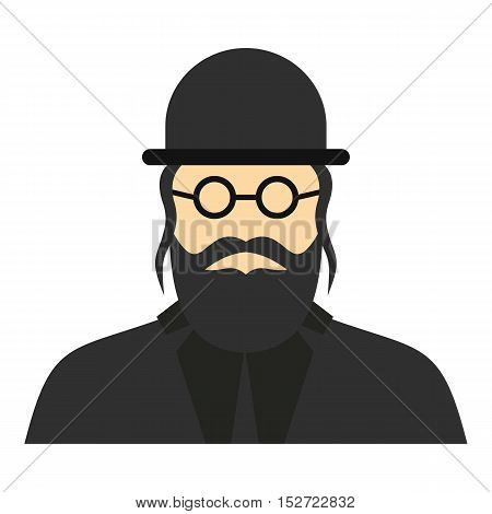 Jewish rabbi icon. Flat illustration of rabbi vector icon for web design
