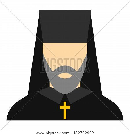 Orthodox priest icon. Flat illustration of orthodox priest vector icon for web design