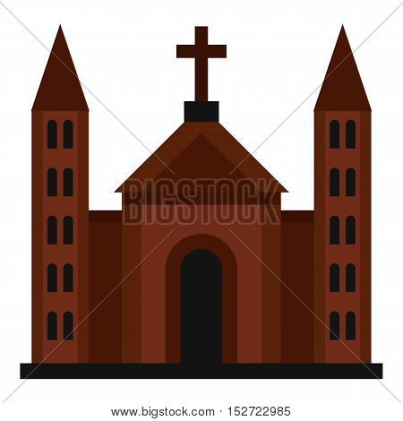 Catholic church icon. Flat illustration of church vector icon for web design
