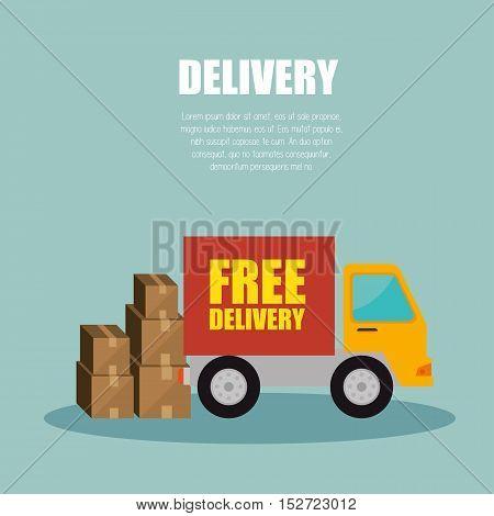 truck delivery transporting package design vector illustration
