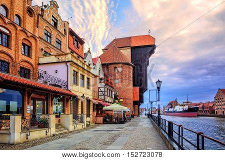 Old Town Of Gdansk, Poland, On Sunrise