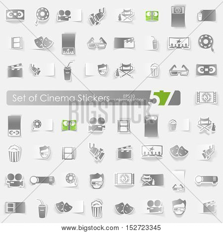cinema vector sticker icons with shadow. Paper cut