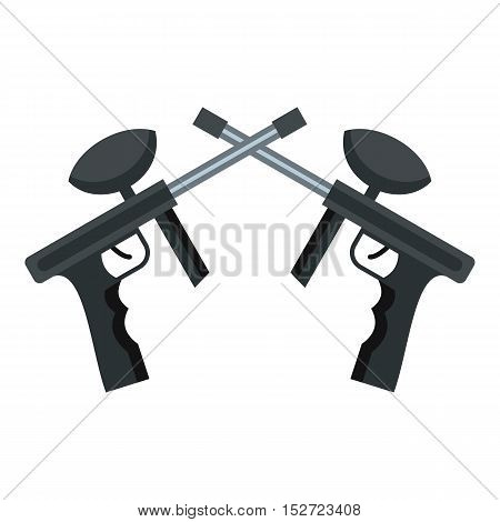 Crossed paintball guns icon. Flat illustration of paintball guns vector icon for web design