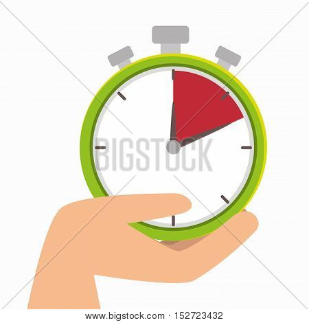 hand hold chronometer watch delivery icon vector illustration