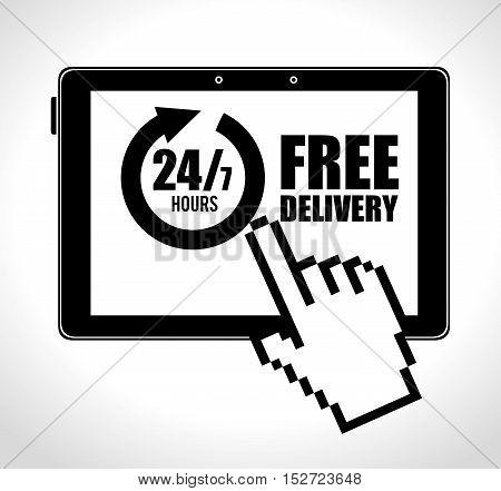 online e-commerce delivery service 24-7 design vector illustration
