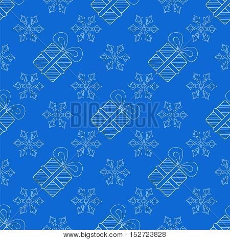 Snowflakes with Christmas gift box seamless pattern, vector illustration for adult anti stress coloring pages, art therapy, tattoo, greeting card, invitation.