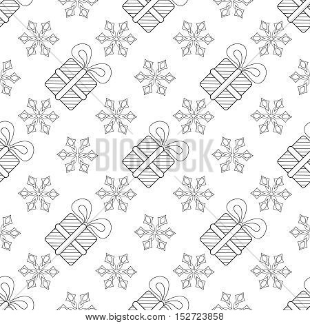 Snowflakes with Christmas gift box seamless pattern, for adult anti stress coloring pages, art therapy, tattoo, greeting card, invitation. Vector illustration on white background. Hand drawn sketch.