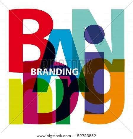 Vector branding. Isolated confused broken colorful text