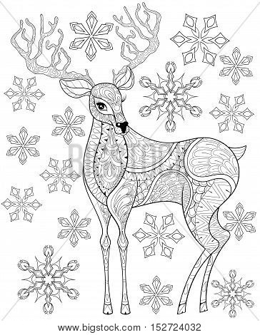 Vector zentangle Christmas Reindeer on snowflakes for adult antistress coloring pages. Hand drawn illustration for New Year 2017, Christmas greeting cards, posters, invitation. A4 size. Eps10.
