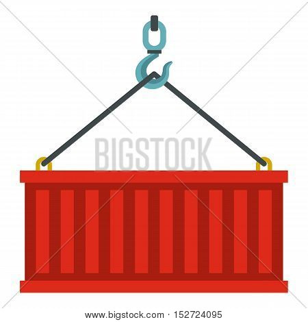 Container lifted by a crane icon. Flat illustration of container vector icon for web design