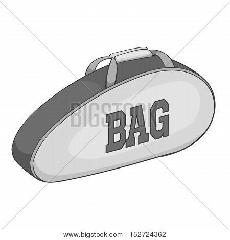Tennis bag icon. Gray monochrome illustration of tennis bag vector icon for web