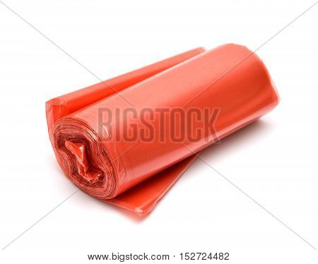 Garbage bag in red isolated on white background