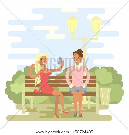 Beautiful girls in summer on a park bench. Cartoon character of women gossiping, people talking and chatting, office people in flat design.