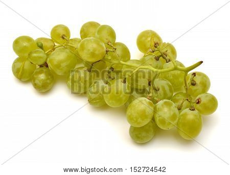 Green grapes isolated on white background. Flat.