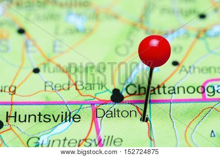 Dalton pinned on a map of Georgia, USA