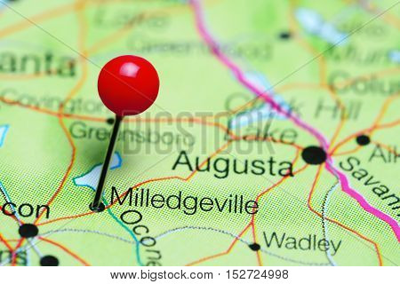 Milledgeville pinned on a map of Georgia, USA